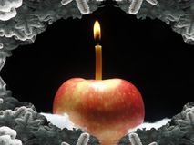 Red apple with burning candle Royalty Free Stock Images