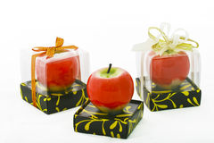Red Apple Candle Stock Image