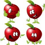 Red apple cartoon with face and hand gesture - vector Stock Image