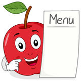 Red Apple Character with Blank Menu Royalty Free Stock Images