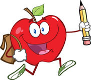 Red Apple Character With School Bag And Pencil Goe. Happy Red Apple Character With School Bag And Pencil Goes To School Royalty Free Stock Images