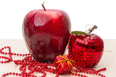 Red apple and Christmas toys Stock Photography