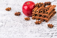 Red apple with cinnamon Royalty Free Stock Image