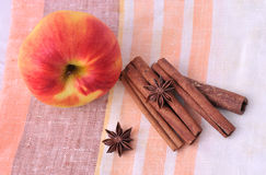 Red apple with cinnamon. And star anise Royalty Free Stock Photography