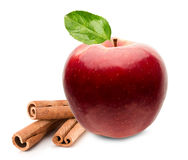 Red apple with cinnamon sticks isolated on the white background.  Stock Images