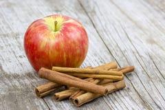 Red apple and cinnamon sticks Stock Image