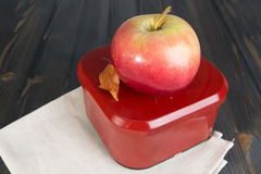 Red apple and a closed box for school lunch. Red apple and a closed box for school breakfast on the dark wooden surface Stock Photo