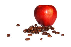 RED apple and coffee beans Royalty Free Stock Photo