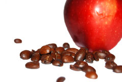 Red apple and coffee beans Stock Photo