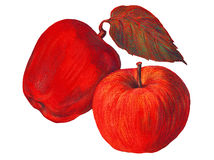 Red apple, color pencil, illustration Stock Photos