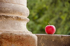 Red apple and column Royalty Free Stock Image