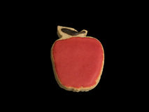 Red Apple Cookie. Isolated on Black Background stock photos
