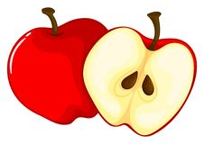 Red apple cut in half. Illustration Royalty Free Stock Photography