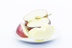 Red apple cut and peel ingredient Royalty Free Stock Image