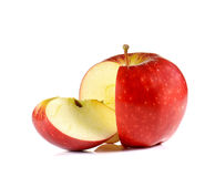 Red Apple cut pieces on white background. Royalty Free Stock Photography