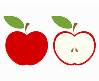 Red apple cut. Red apple, whole and half of fruit. Vector illustration Royalty Free Stock Images