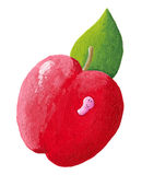 Red apple with cute pink worm Stock Photo