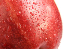 Red apple detail. Detail of red apple with water droplets Stock Photo