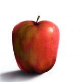 Red Apple Digital Painting. Digital still-life painting of a realistic red apple Stock Photo