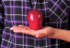 Red apple in display. Female hand holding up a red apple with a purple shirt as background Stock Photo