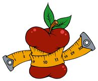 Red apple dragged by centimeter royalty free illustration