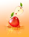 Red apple drop on juice splash and ripple, Realistic Fruit and yogurt, transparent, vector illustration. Eps10 Stock Images