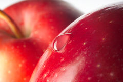 Red apple with drop. Macro Stock Photography