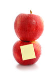 Red apple with empty post-it Stock Photos