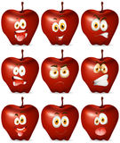 Red apple with facial expression Stock Images