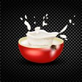 Red apple falling into the milky splash. Vector. Royalty Free Stock Image