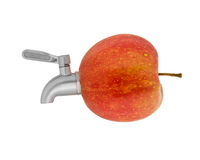 Red apple with a faucet Royalty Free Stock Photo