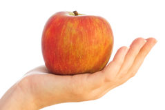 Red apple on female palm Royalty Free Stock Images