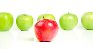 Red Apple in front of Green Apples. Red Apple in front of Row of Green Defocused Apples on White Background Stock Photography