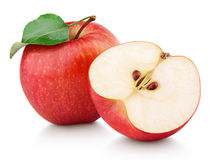 Red apple fruit with half and green leaf isolated on white stock photography