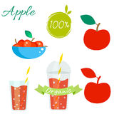 Red apple fruit and juice vector set. Red apple fruit and juice cup to go vector set. Apple fruit with leaf in bowl. Apple logo. Apple juice or jam branding set Royalty Free Stock Images