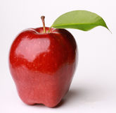 Red Apple Fruit With Leaf Stock Photo