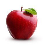 Red apple fruit with leaf Royalty Free Stock Images
