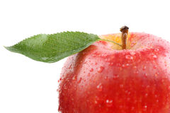 Red apple fruit with leaf isolated Royalty Free Stock Images