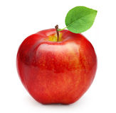 Red apple fruit with leaf. On white background Stock Photo