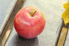 Red apple fruit, wooden bench and yellow autumn leafs, leaves Royalty Free Stock Photo
