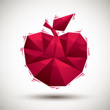 Red apple geometric icon made in 3d modern style, best for use a Stock Photo