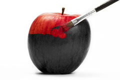 Red apple gets his color Royalty Free Stock Photos