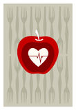 Red apple on gray background Stock Photo