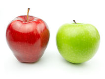 Red Apple and green apple. On white background royalty free stock photography
