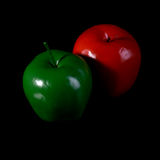 Red apple and green apple. Royalty Free Stock Photo