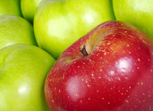 Red Apple in between Green Apples Royalty Free Stock Images