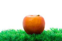 Red apple in green artificial grass Stock Photo