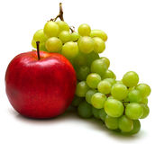 Red apple and green grapes Stock Images