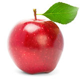 Red apple with green leaf. Stock Image