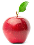 Red apple with green leaf. Stock Photo